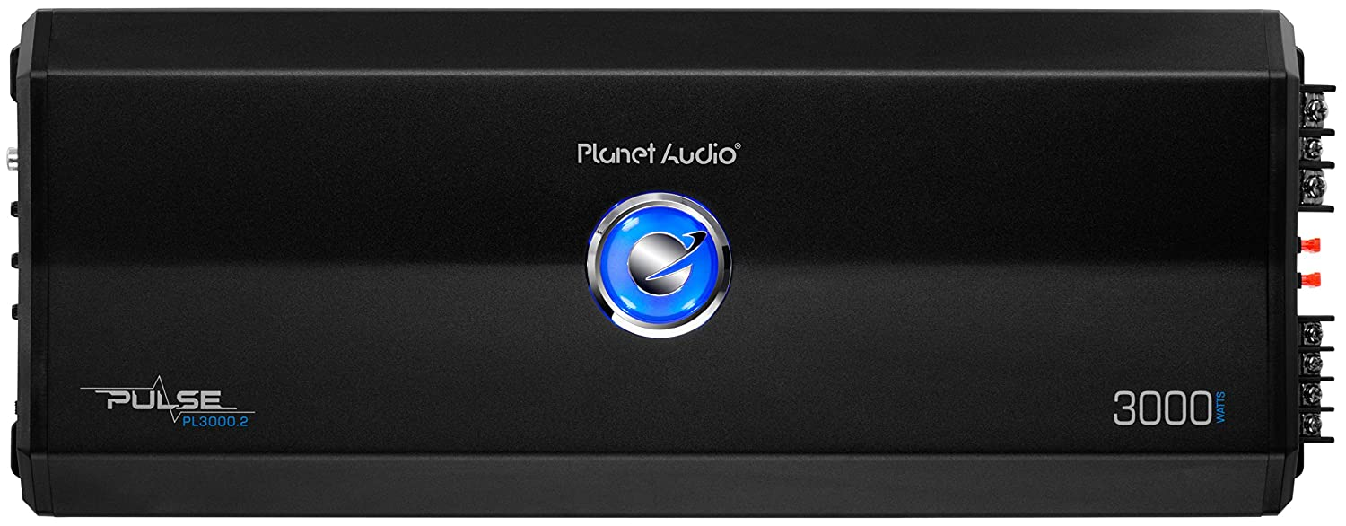 Planet Audio PL3000.2 Pulse 3000 Watt Full Range Bridgeable MOSFET Car Amplifier with Remote Subwoofer Control 2 Channel 2 to 8 Ohm Stable Class A//B