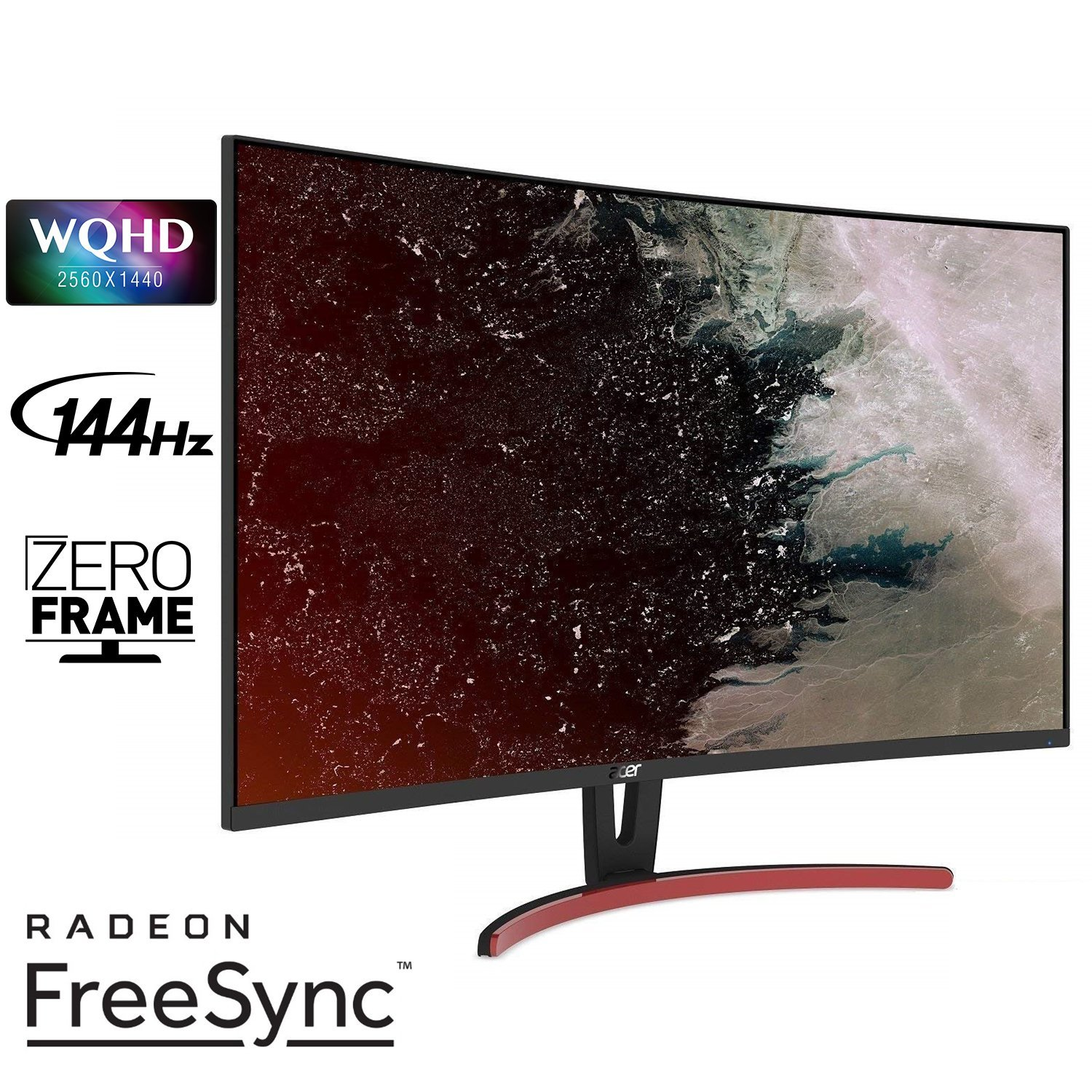 Acer ED323QUR Abidpx 31.5 WQHD 2560 x 1440 Curved 1800R VA Gaming Monitor with AMD Radeon FREESYNC Technology – 4ms 144Hz Refresh Rate Display Port, HDMI Port DVI Port