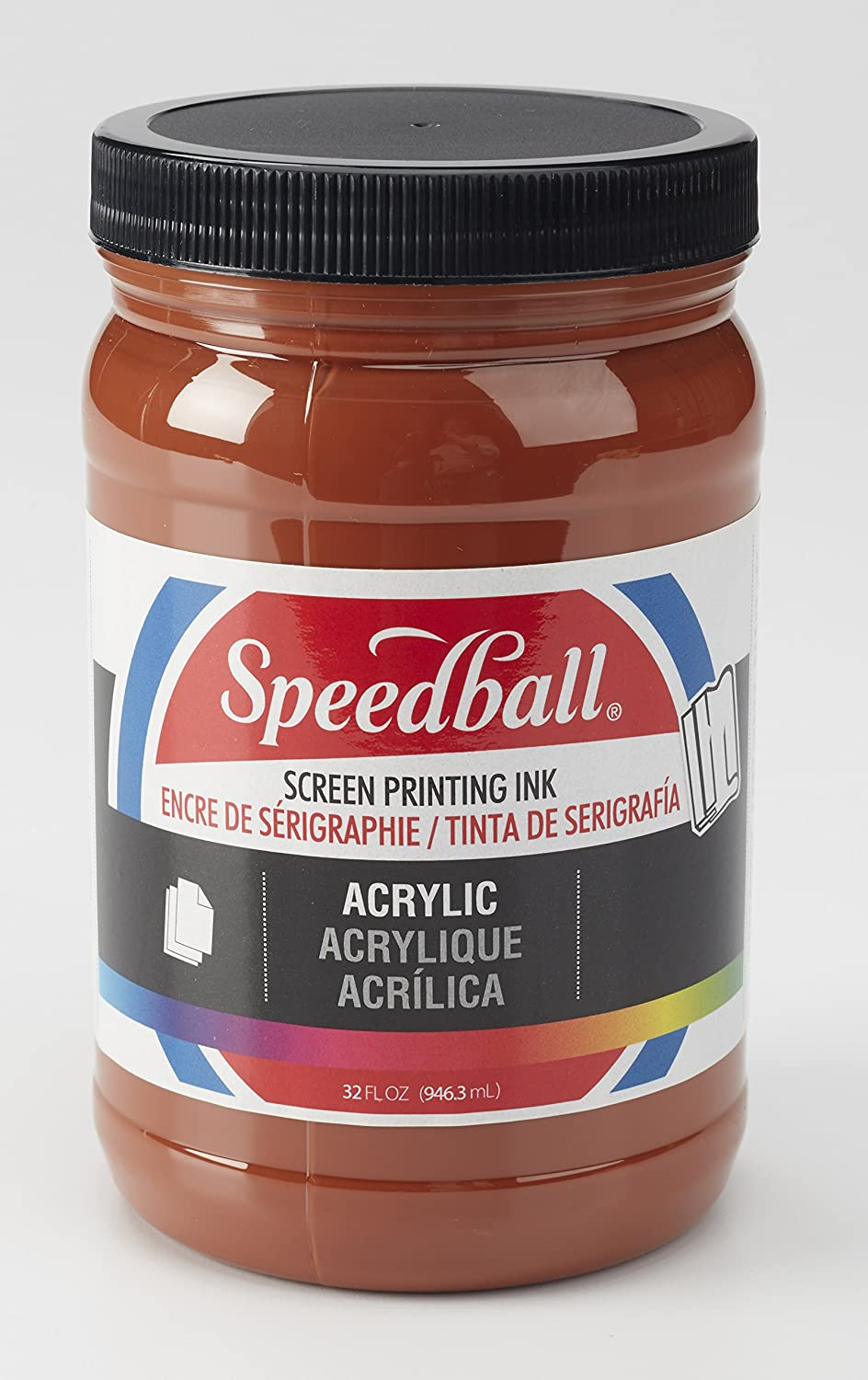 Speedball 004645 Acrylic Screen Printing Ink, 32 fl. oz, Fire Red
