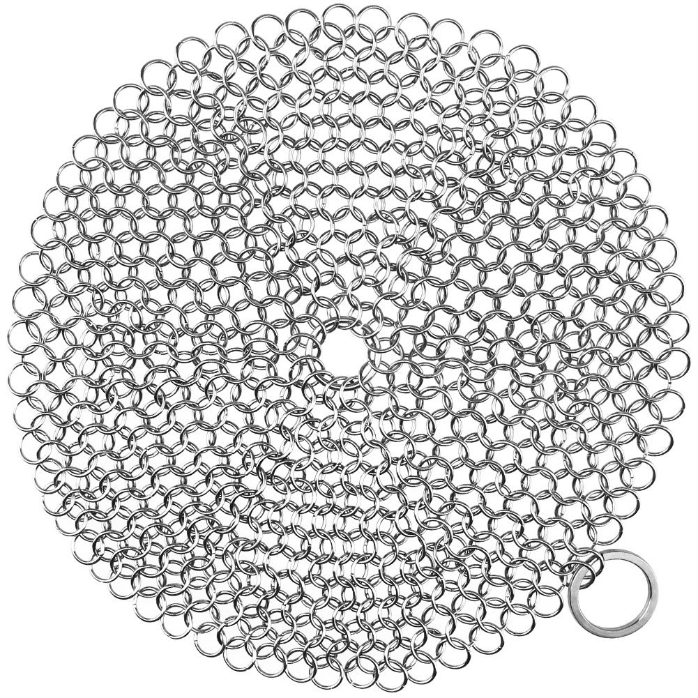 Cast Iron Cleaner, HIPPIH Cast Iron Scrubber, 316 Stainless Steel Chainmail Scrubber with Corner Ring, Anti-Rust Cleaner for Cookware, 7 x 7 inch Diameter Large, Round
