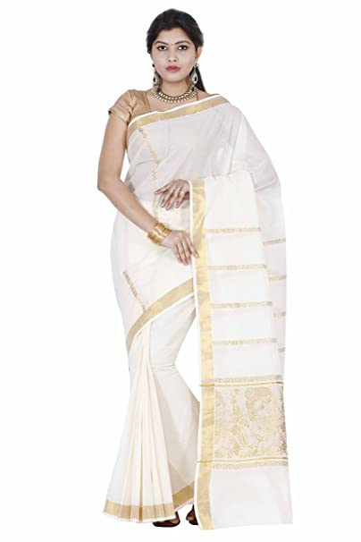 d1bbff98b7a Fashionkiosks Traditional Weaved Golden Little Krishna Kasavu Cotton Kerala  Saree and Blouse  Amazon.in  Clothing   Accessories