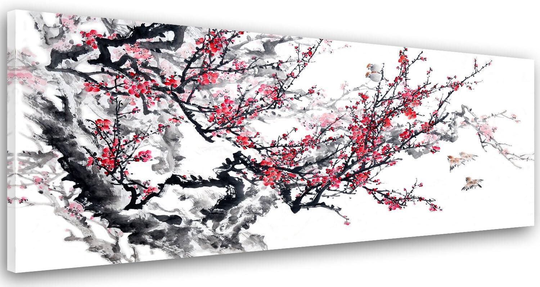 Feeby Frames Cuadro en Lienzo, Cuadro Impresión, Cuadro Decoración, Canvas de una Pieza, 60x150 cm, ÁRBOL, Rama, Flores, Pájaros, Rojo, Negro