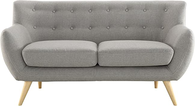 Amazon.com: Moderno y Contemporáneo Loveseat, tela gris ...