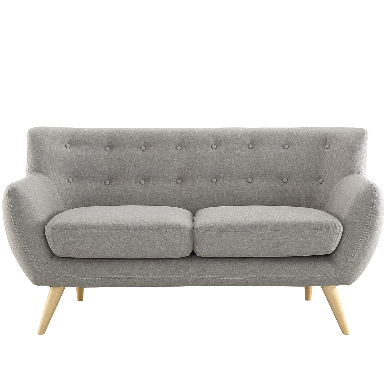 Amazon Modway Remark Mid Century Modern Loveseat With Upholstered Fabric In Light Gray Kitchen Dining