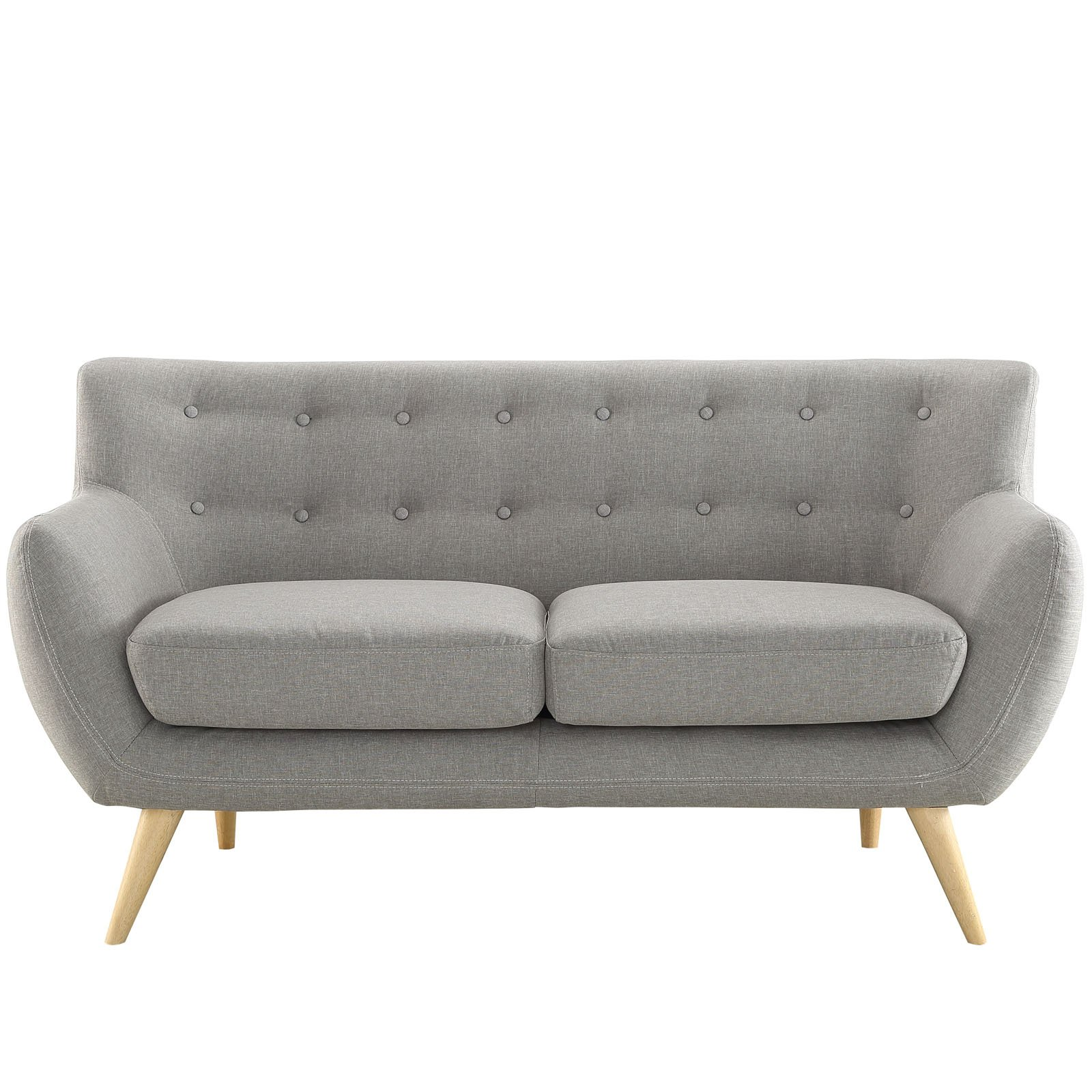 Modway Remark Mid-Century Modern Loveseat With Upholstered Fabric In Light Gray by Modway