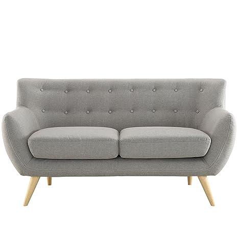 Amazon.com: Moderno y Contemporáneo Loveseat, tela gris ...