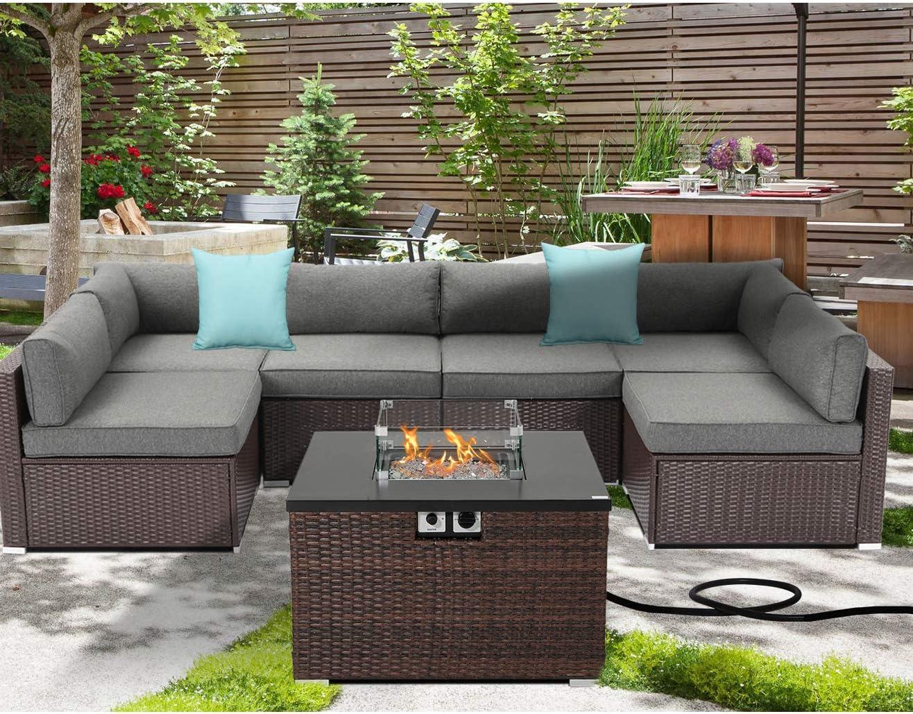 SUNBURY Outdoor 7 Piece Sectional Sofa Propane Fire Pit, Dark Brown Patio Furniture Set w 32-inch 40,000 BTU Square Wicker Fire Table Tank 20 gal Outside for Garden, Poolside, Backyard