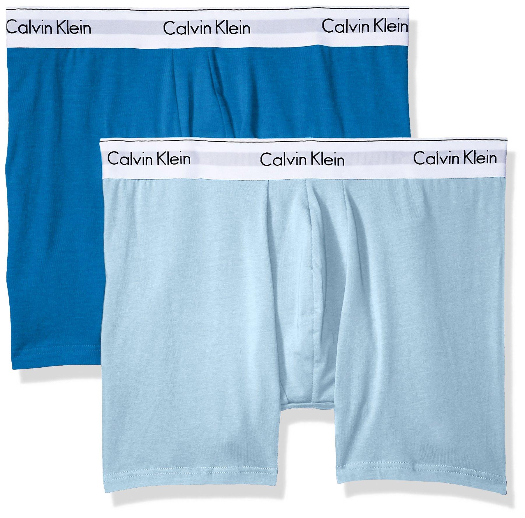 Calvin Klein Men's Underwear Modern Cotton Stretch Boxer Briefs, Rapid/Summer Blue, X-Large