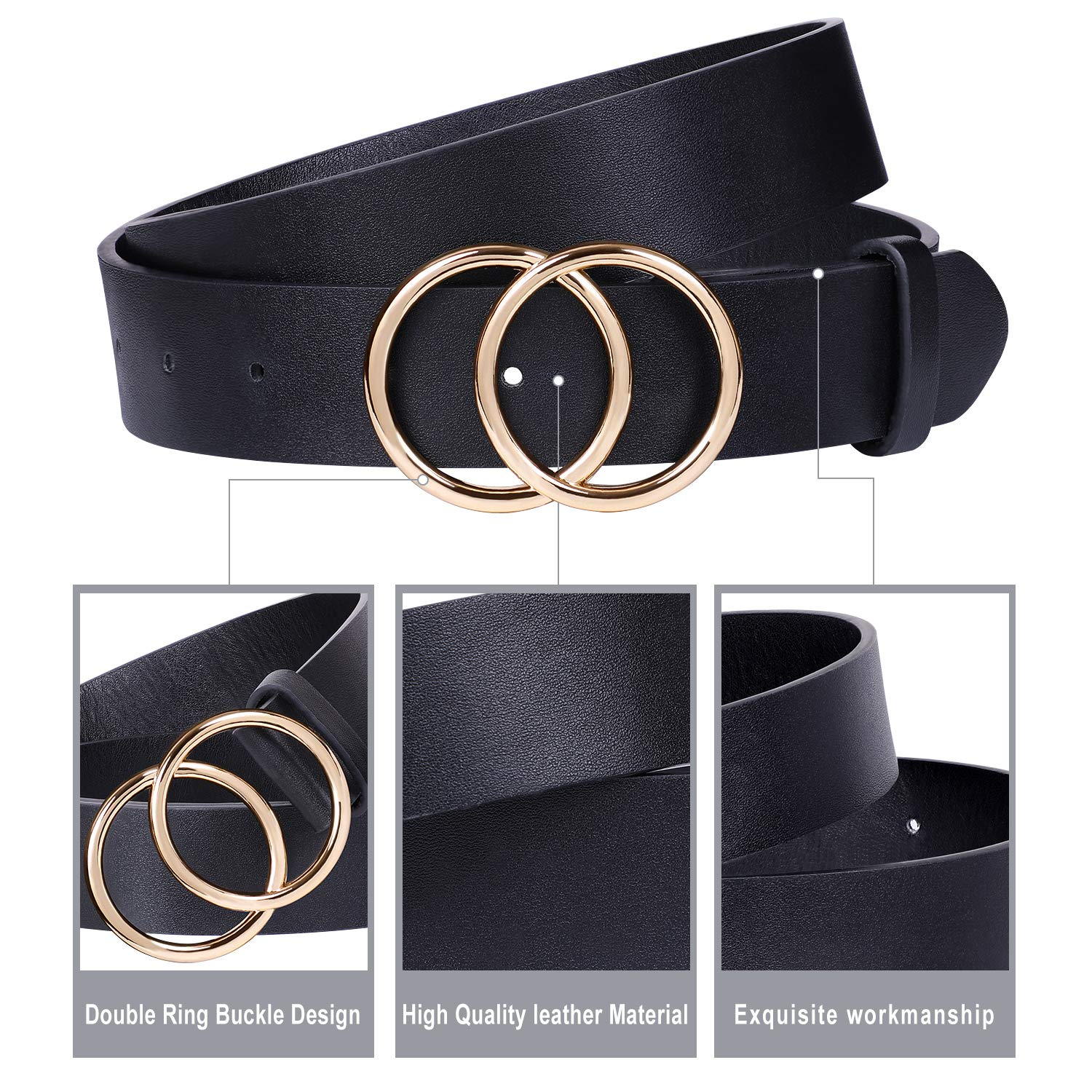2 Pack Women Leather Belts for Jeans Pants,WERFORU Ladies Plus Size Waist Belts with Double O-Ring Buckle,Suit for Pants Size 26-30 Inches,Black+Leopard