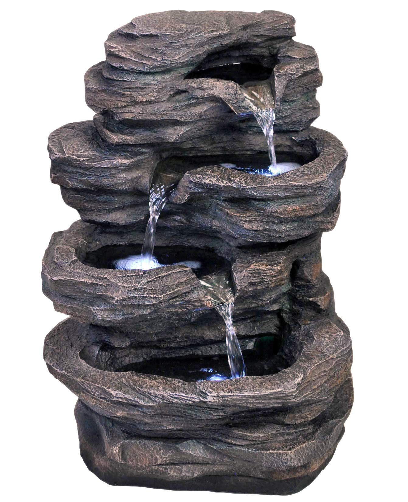 19'' Classic Rock Waterfall Fountain w/LED Lights: Medium Outdoor Water Feature for Gardens & Patios. Hand-Crafted Design. HF-R25-21LT