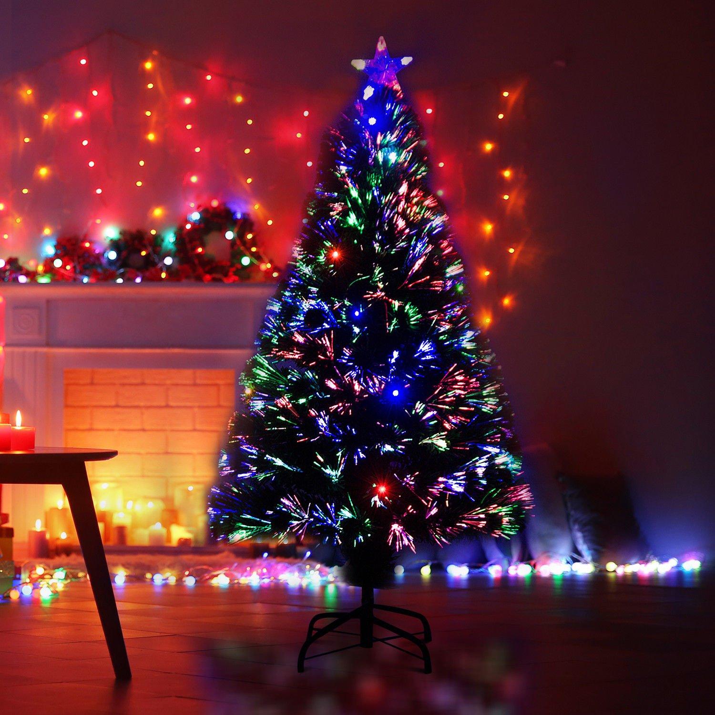 homcom Albero di Natale Artificiale con 130 Rami in Fibra Ottica e PVC e 16 luci LED /Φ60 x 120cm