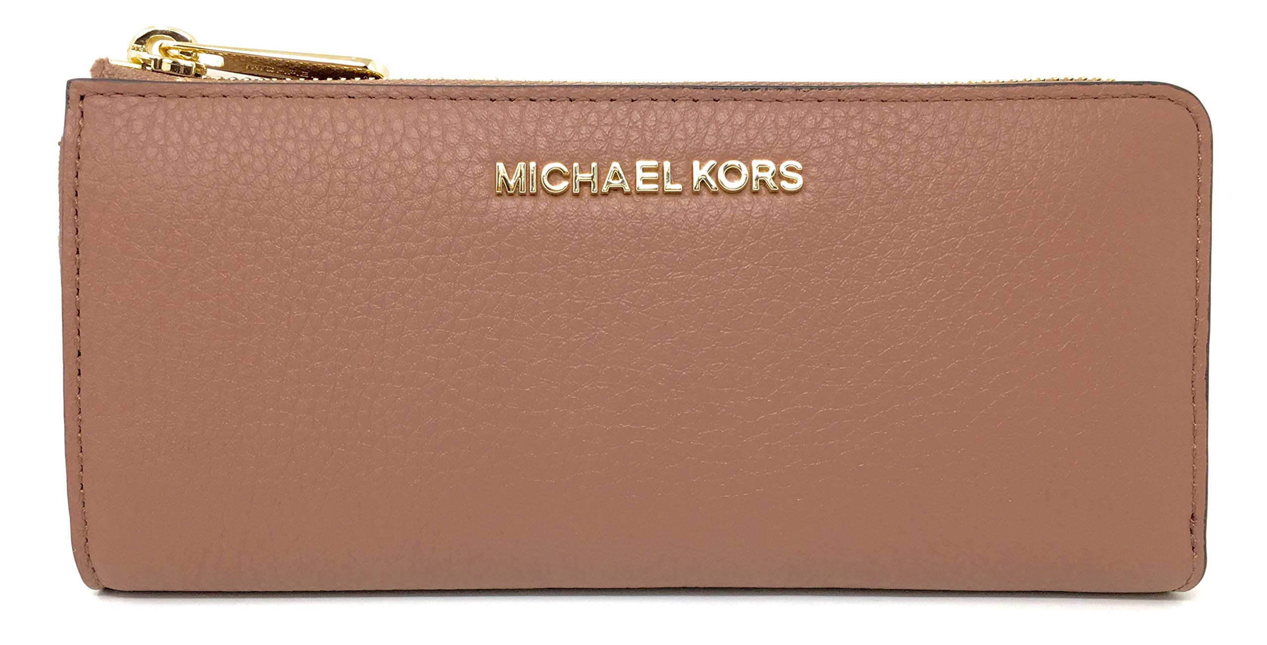 Michael Kors Jet Set Large Three Quarter Zip Around Pebbled Leather Wallet (Dusty Rose)
