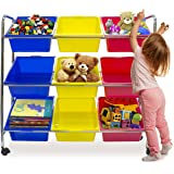 Sorbus Toy Bins & Office Supply Organizer on Wheels — Plastic Storage Cart with Removable Bins—Ideal for Toys, Books, Crafts, Office Supplies, and much more—(Primary Colors