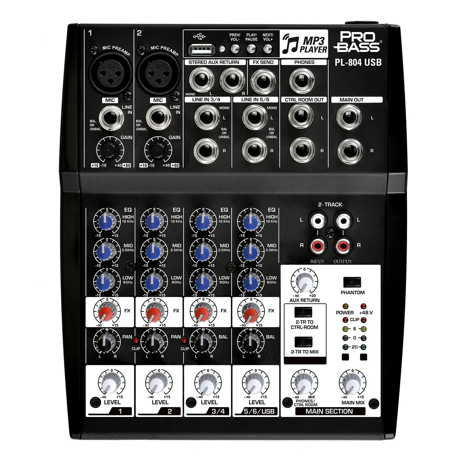 Pro Bass PL-804 USB Professional Audio Mixing Console 8 Channels, 3 Bands EQ +48 Phantom Power MP3 Player