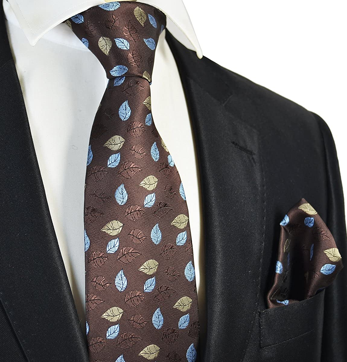 Chocolate Brown Floral Mens Tie and Pocket Square Set
