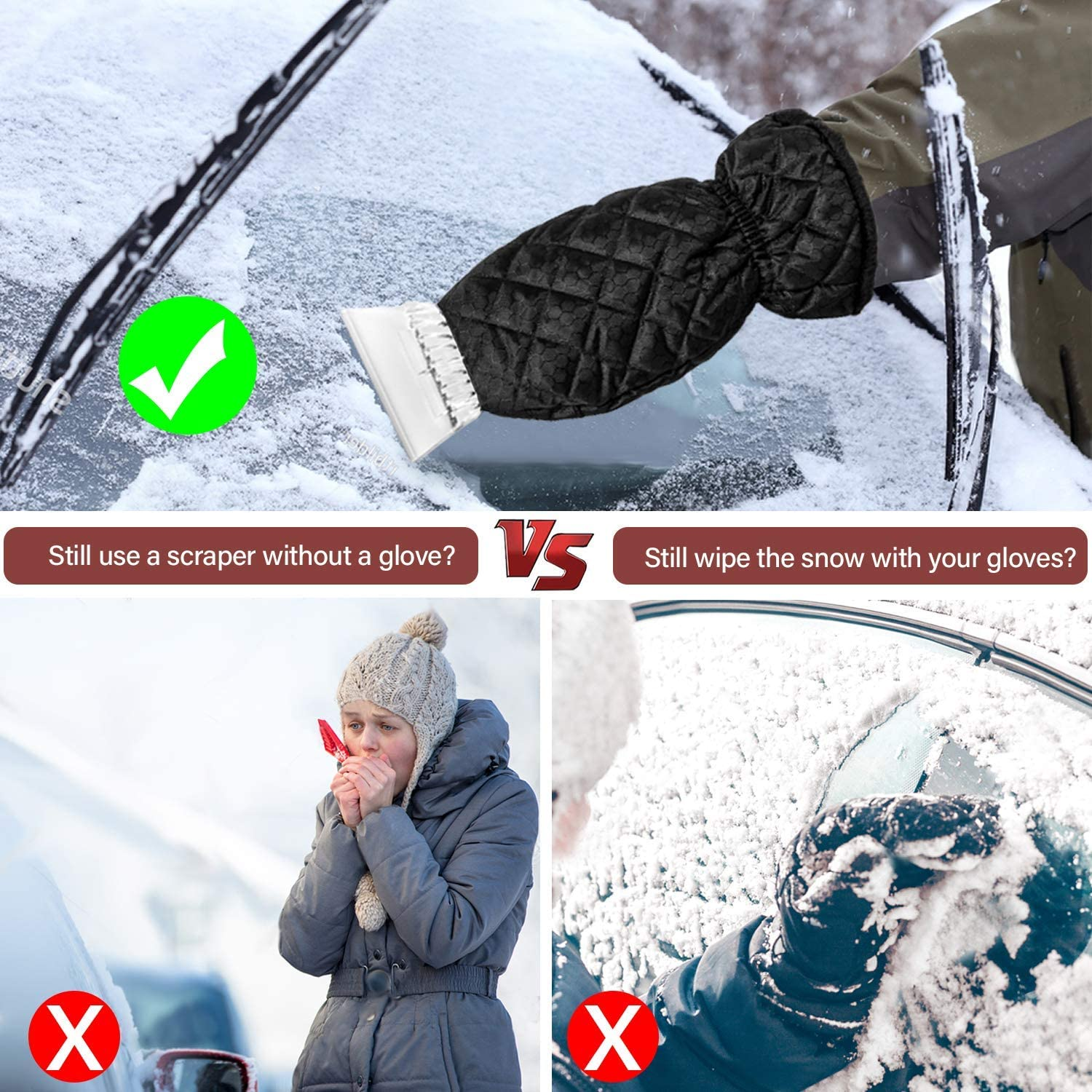 Ice Scraper for Car Windshield with Mitt 2 Pack Snow Ice Scraper Remover Tool with Glove Waterproof Warming Snow Shovel for car Window Scratch-Free Black, 2 Pack