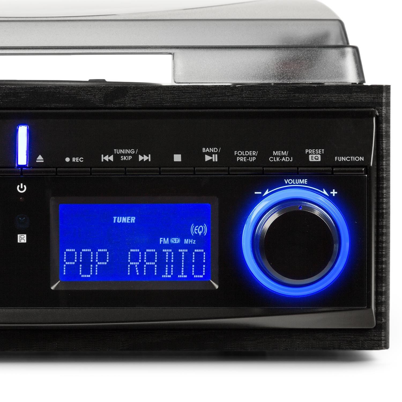 Vinyl turntable black USB port 45 RPM Max Digitization function Remote control AUNA TT-190 stereo system Record player 2-way speaker pair Radio tuner Belt drive Bass reflex