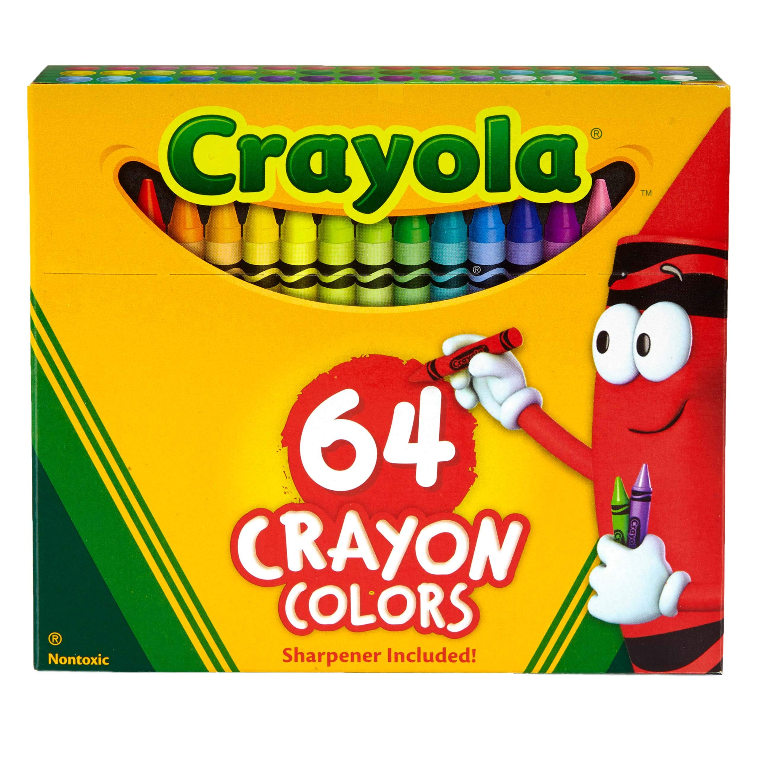 Crayola Crayons, Crayon Box with Sharpener, 64 ct