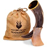 "Genuine Ox-Horn Viking Drinking Horn - w/ Horn Stand and Burlap Gift Sack - 12"" Horn"