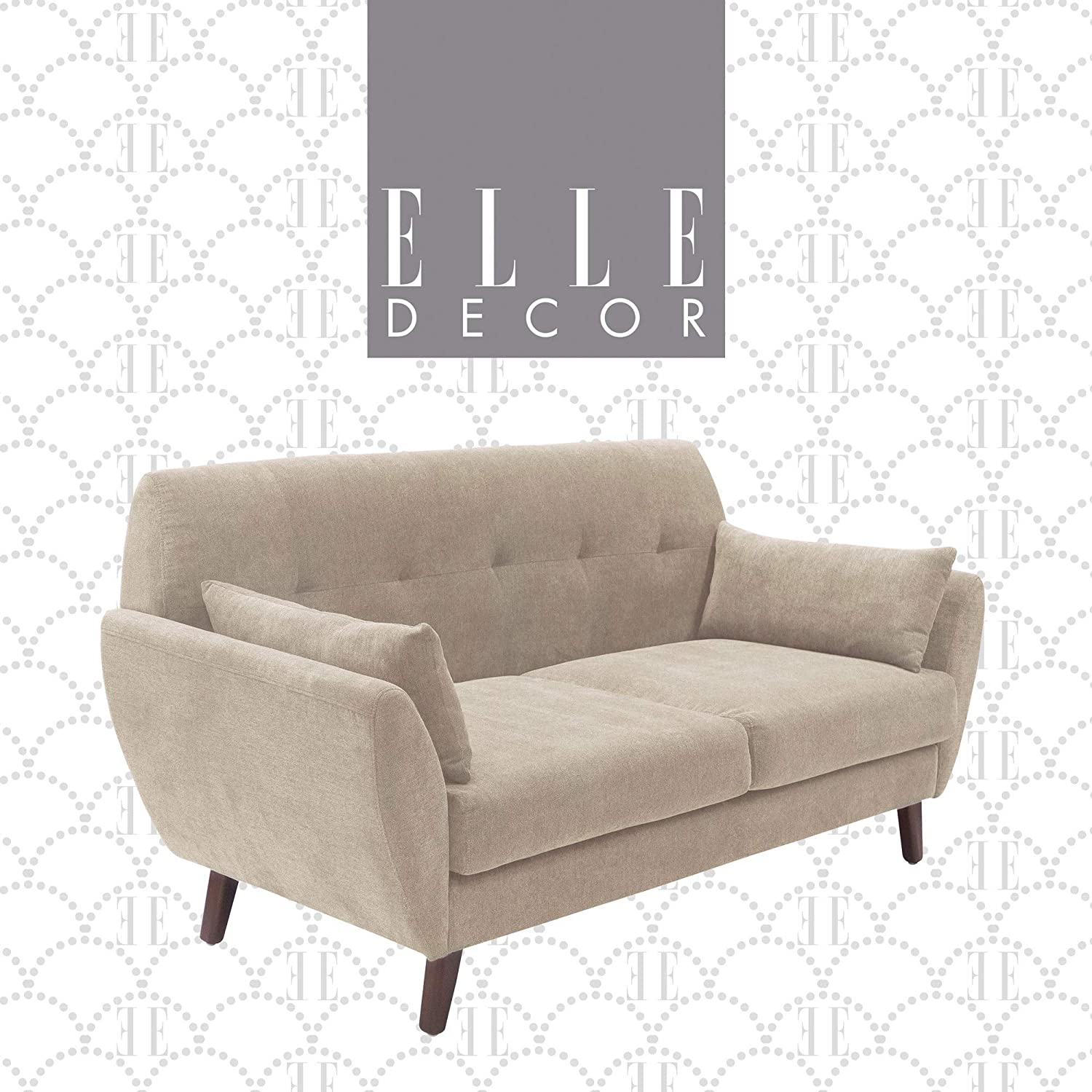 "Elle Decor Amelie Upholstered Sofa Collection Mid Century Modern Design Couch with Flared Arms, Pet Friendly Fabric Upholstery, Tool-Free Assembly, 73"", Beige"
