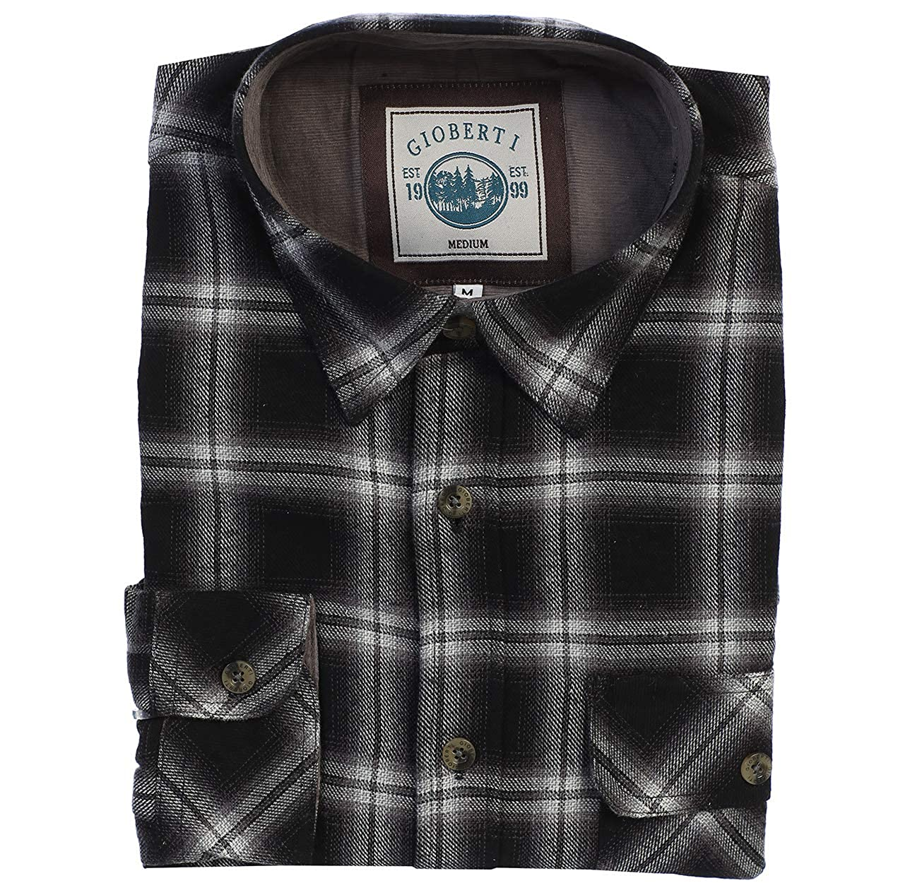 Gioberti Mens 100/% Cotton Brushed Flannel Plaid Checkered Shirt with Corduroy Contrast