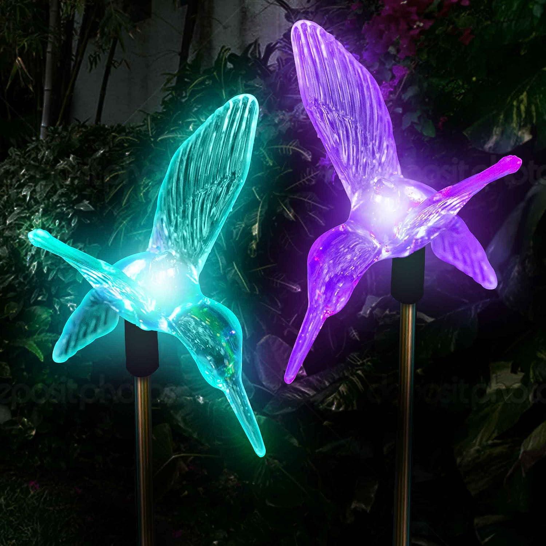 Amazon.com: Solar Hummingbirds Holiday Decoration Pathway Lighting Garden  Stake Lights Color Changing Outdoor Decor Patio Lawn Yard Path Decorative  ...