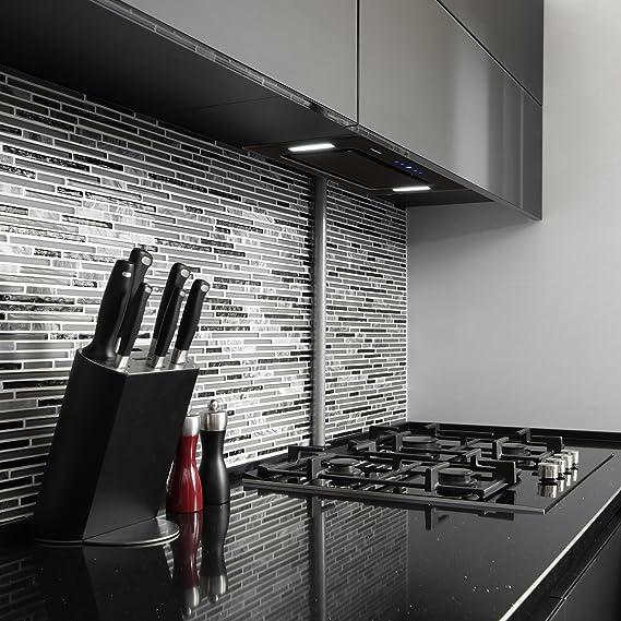 Klarstein HEKTOR SL Campana extractora - Campana de cocina, Campana de pared, 60 cm de ancho, Circulación de aire, 530 m³/h, Filtro de aluminio, Negro: Amazon.es: Hogar