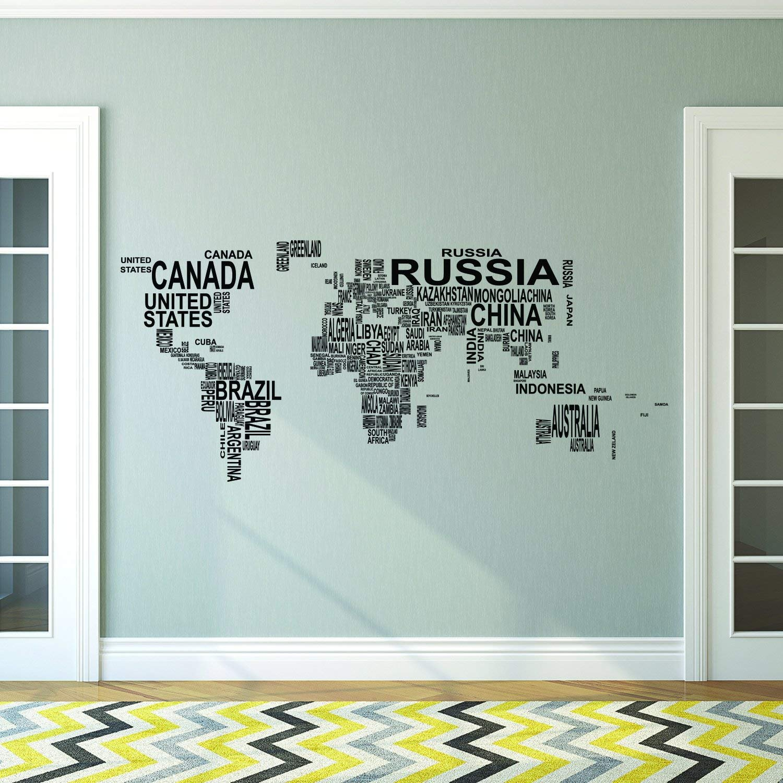 Amazon.com: kiskistonite Vinyl Wall Art Decal, Country Names In ...