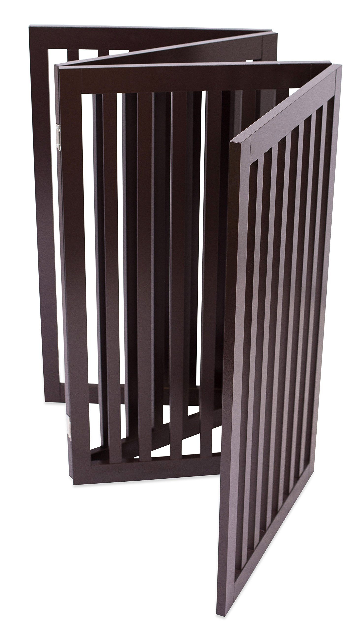 Internet's Best Traditional Pet Gate | 4 Panel | 36 Inch Tall Fence | Free Standing Folding Z Shape Indoor Doorway Hall Stairs Dog Puppy Gate | Fully Assembled | Espresso | Wooden by Internet's Best (Image #7)