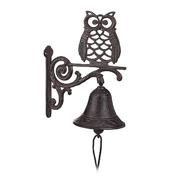 Relaxdays – Campana para Puerta Puerta de Hierro Fundido, diseño, Antiguo, Estilo rústico