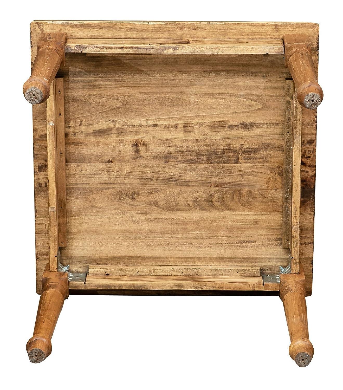 Stile Country Tavolo quadrato in legno massello di tiglio Finitura naturale 90x90x78 cm