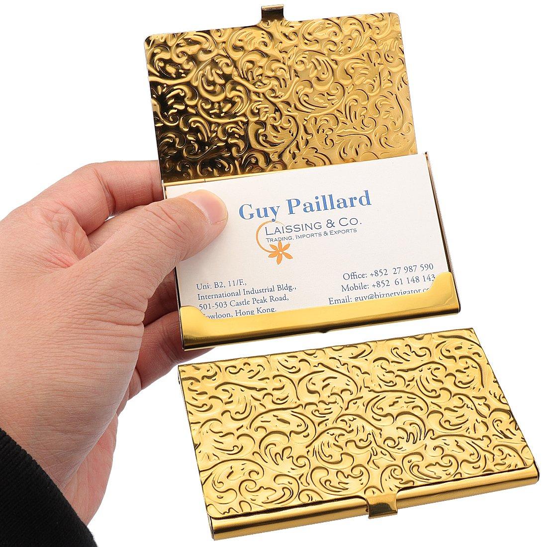 YOBANSA Porta biglietti da visita e carte di credito, in acciaio inox, per uomini e donne Silver 0A
