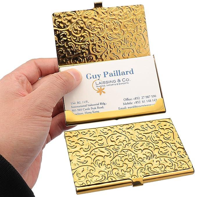 YOBANSA Stainless Steel Rose Gold Business Card Holder Credit Name Case for Men