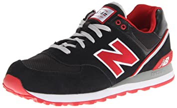 New Balance ML 574 Shoes Black White Red | Deporvillage