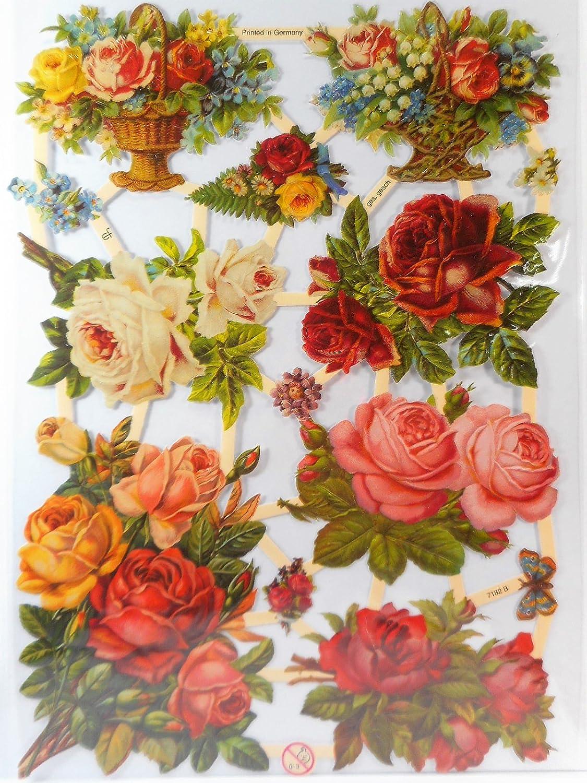 3 Blatt Creativ Glanzbilder 16,5x23,5 cm Rosen