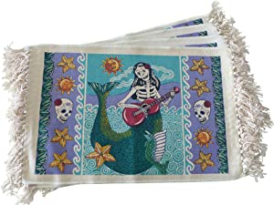 Day of The Dead Sugar Skull Placemats - Set of 4 Day of The Dead Dia de Los Muertos Square Mexican Gothic Decor Cotton Place Mats for Dining Table - Mermaid