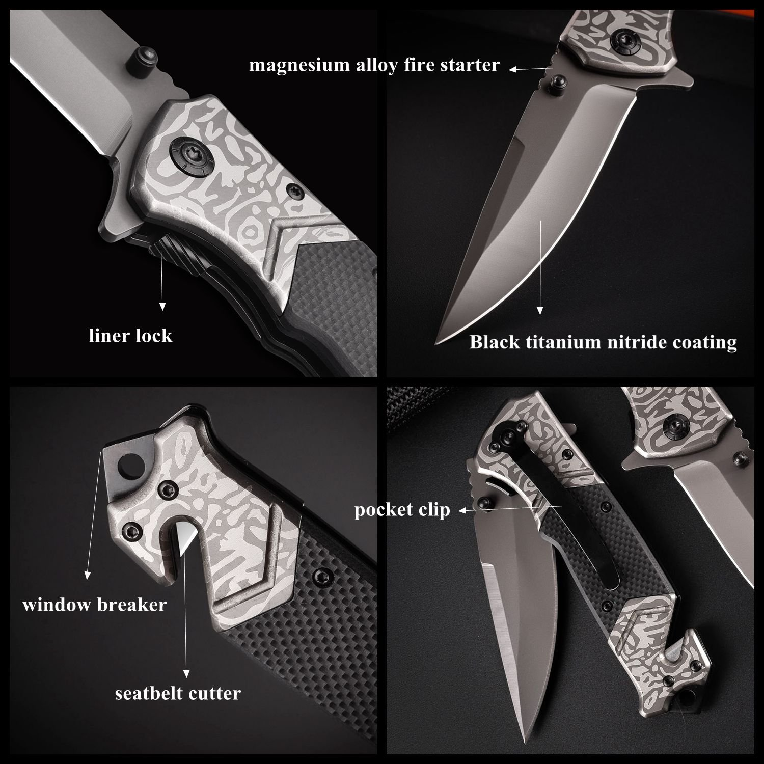 SMTENG 8in Stainless Steel folding Knife With pattern Antiskid G10 handle,Outdoor Tactical Survival EMT EDC Knife,Easy closing Liner Lock Everyday Carry Pocket Knife With Clip,5 inch close black by SMTENG (Image #6)