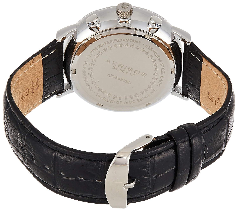 Akribos XXIV herr kronograf display kvartsur med läderrem Blå/svart