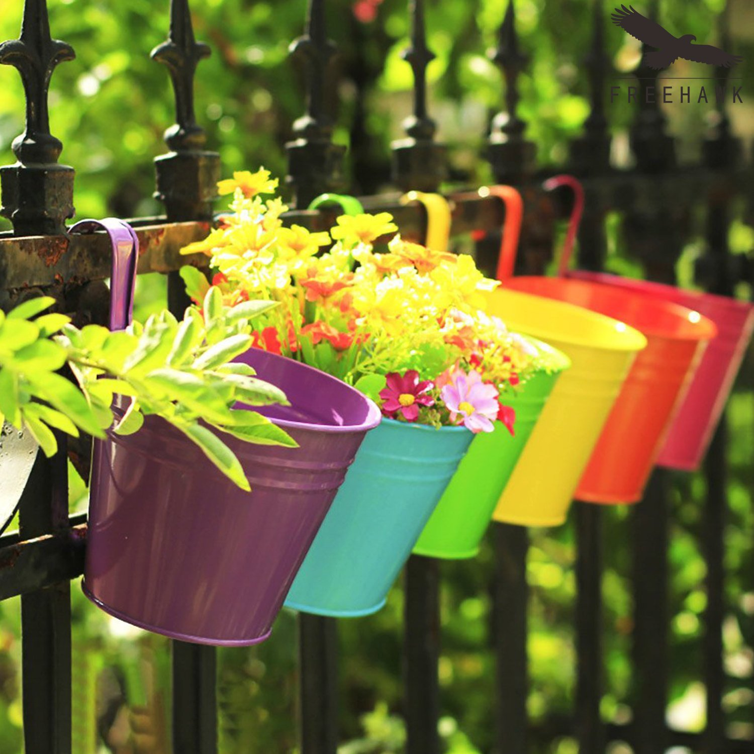 Amazon.com: Hanging Flower Pots,Out Topper Balcony Garden Plant ...