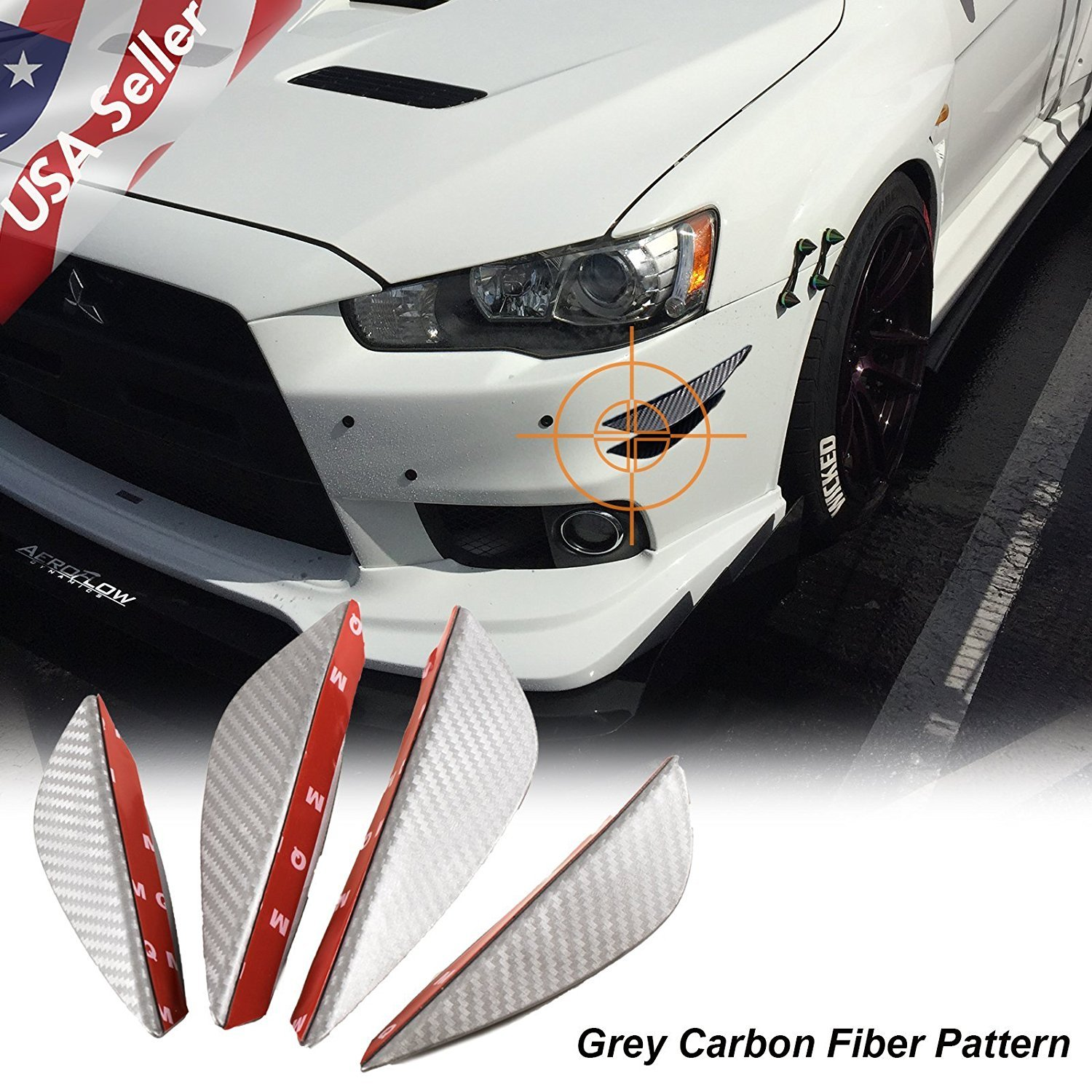 4pcs Carbon Fiber Pattern Trim Front Bumper Canards Fins Body Diffuser Splitters Kits Universal Fit For Most Car Xotic Tech Direct