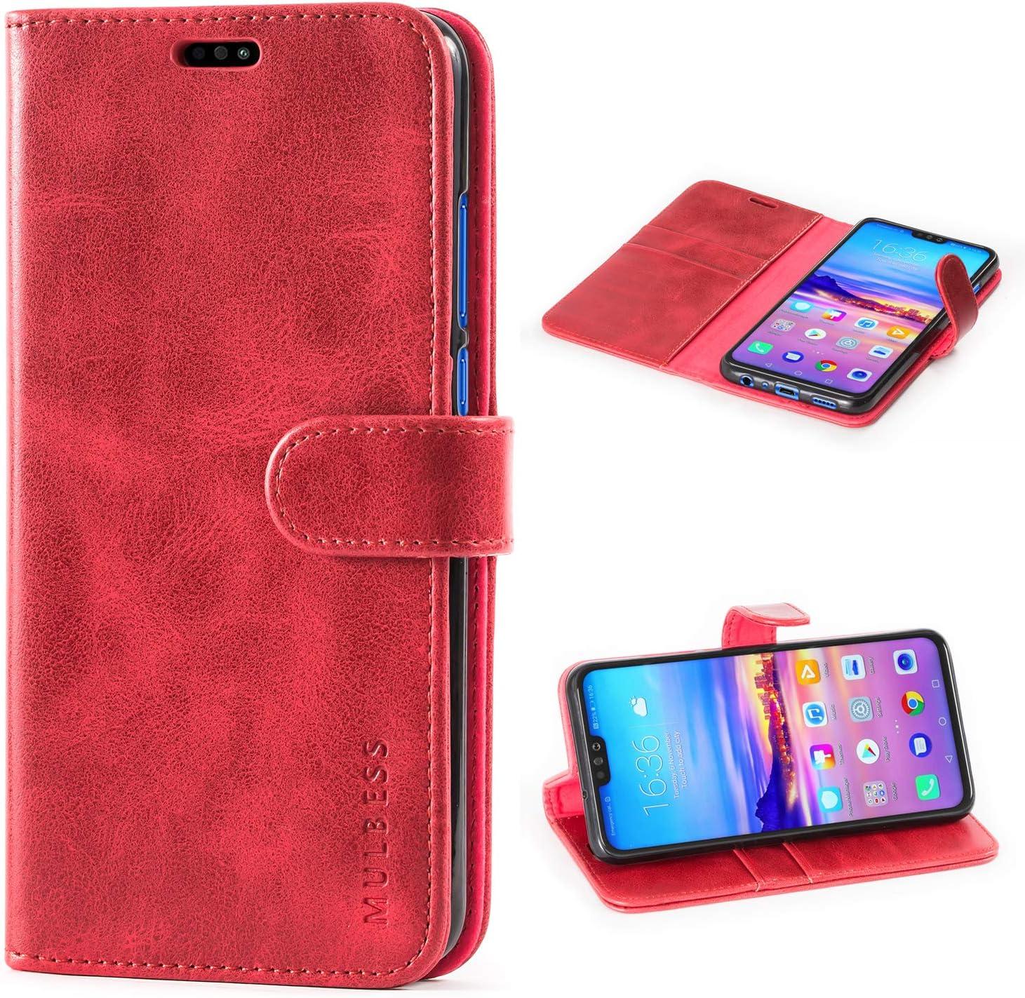 Mulbess Funda Honor 8X [Libro Caso Cubierta] [Vintage de Billetera Cuero de la PU] con Tapa Magnética Carcasa para Huawei Honor 8X Case, Vino Rojo