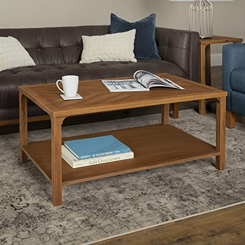 Walker Edison Farmhouse Chevron Square Wood Accent Coffee Table Living Room Ottoman Storage Shelf