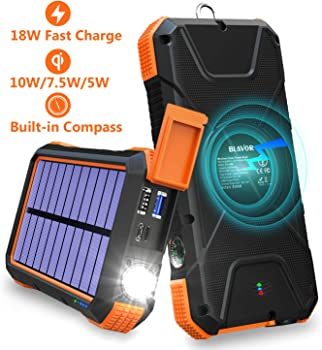 BLAVOR Solar Charger 18W Power Bank with Flashlight & Compass