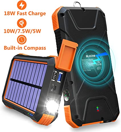 Amazon.com: BLAVOR Cargador Solar Power Bank 18W, QC 3.0 ...