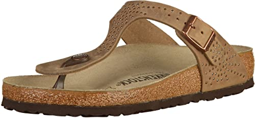 ab890dd19aa Birkenstock Womens Gizeh Oiled Leather Sandals Regular Crafted Rivets  Tabacco Size EU 36 - UK L3