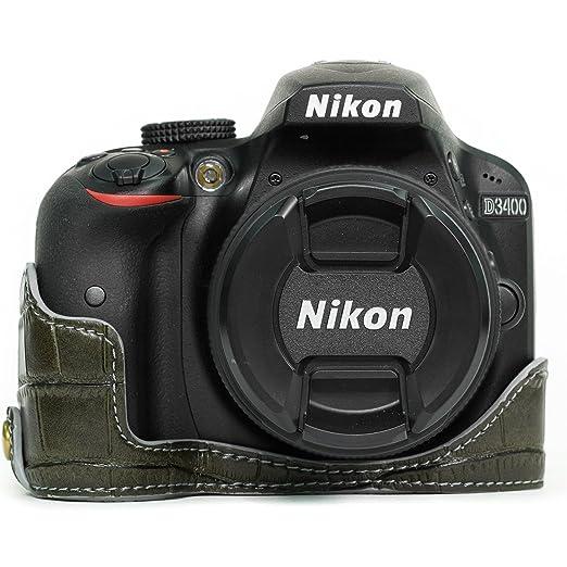 MegaGear mg1046 Ever Ready Piel cámara Media Carcasa y Correa con Acceso a la batería para Nikon D3400/D3300/D3200/D3100 – Verde
