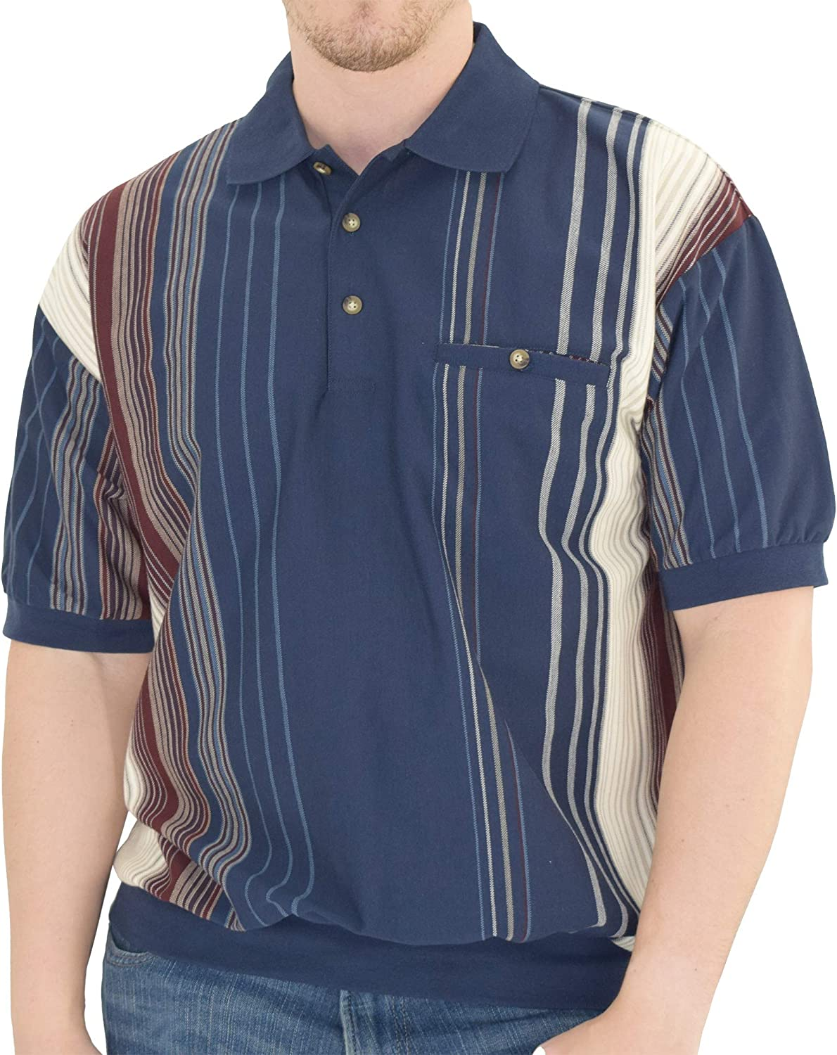 1960s Mens Shirts | 60s Mod Shirts, Hippie Shirts Big and Tall Classics by Palmland Short Sleeve Banded Bottom Polo Shirt - 6090-V2 -  $37.99 AT vintagedancer.com