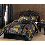 Chezmoi Collection 7-Piece Palace Dragon Jacquard Comforter Set, Queen, Black/Gold/Red