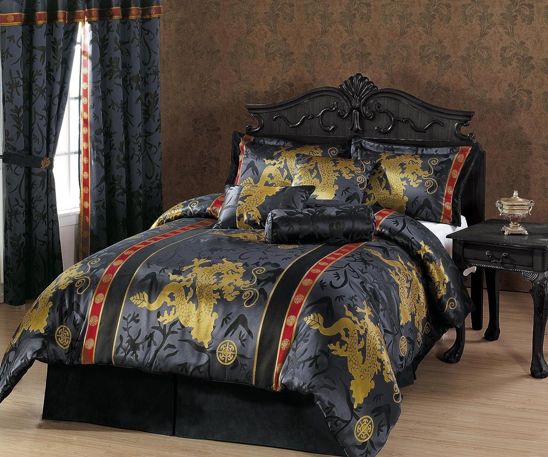 Black and gold queen comforter set - Amazon Com Chezmoi Collection 7 Piece Palace Dragon Jacquard Comforter Set Queen Black Gold Red Home Kitchen