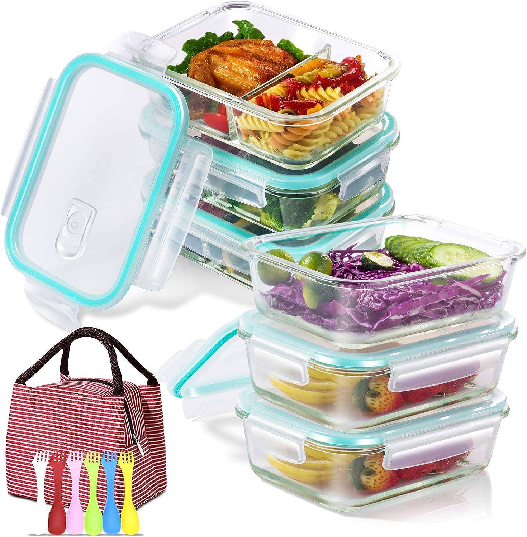 Masthome Contenedor de Almacenamiento de Alimentos de Vidrio,Conjunto Apilable de 9 Piezas,con Tapas Transparentes,Sin BPA,con Bolsa de Aislada y 6 Cucharas//Tenedores de Pl/ástico Multifuncionales